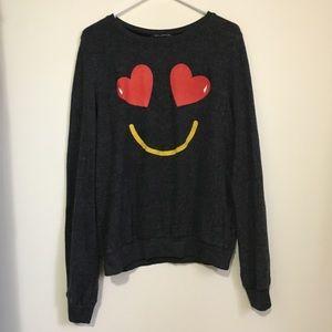 Wildfox Smiling Hearts Emoji Sweater L
